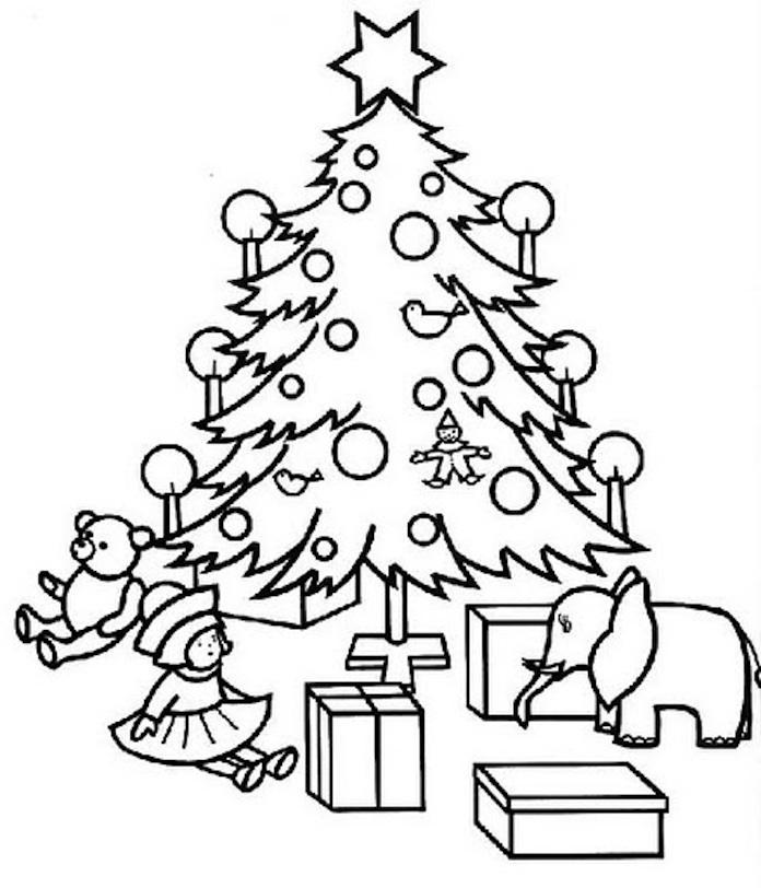 Dibujo para colorear Abeto Navidad con regalos debajo