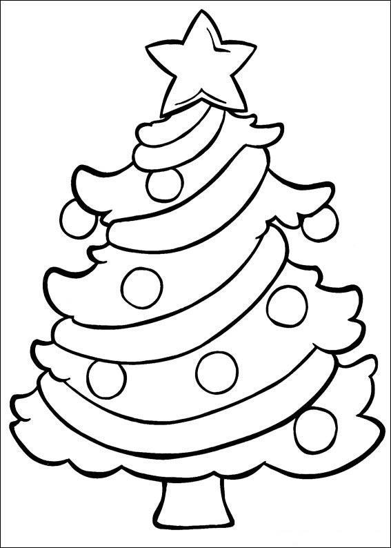 Dibujo para colorear Abeto de Navidad adornado