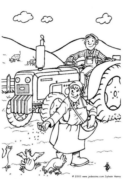 Dibujo Para Colorear Agricultor En Tractor 01