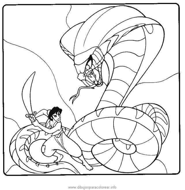 Dibujo Para Colorear Aladino Y La Serpiente