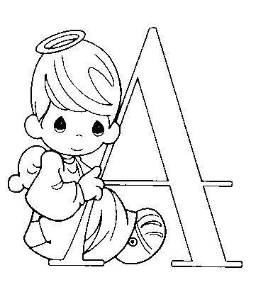 Dibujo Para Colorear Angelito Letra A