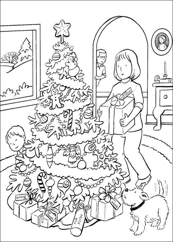 Dibujo para colorear Arbol de Navidad con caramelos y regalos
