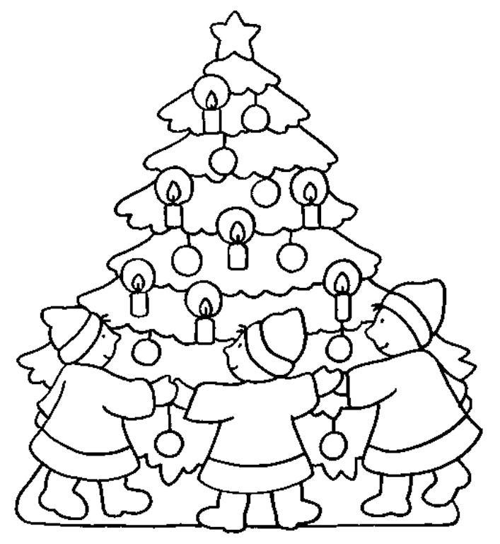 Dibujo para colorear bailando alrededor del rbol de navidad - Arboles de navidad imagenes ...