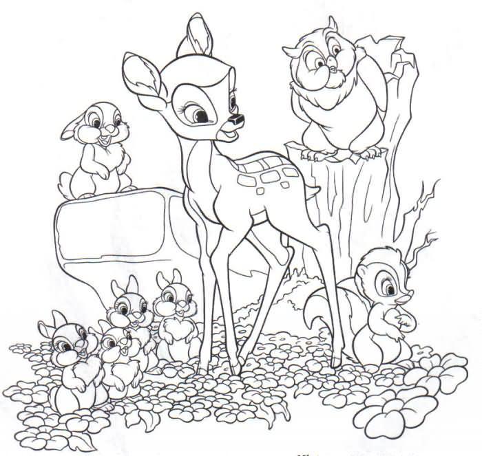 Dibujo para colorear Bambi 02
