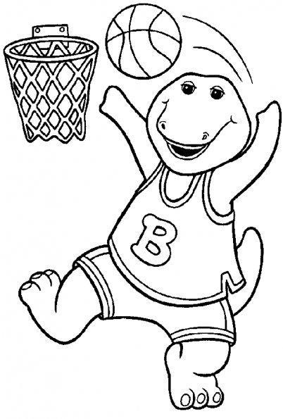 Dibujo para colorear Barney jugando a baloncesto