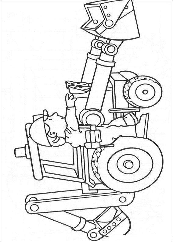 Dibujo para colorear Bob el constructor con Scoop 01