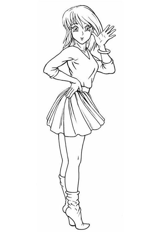 Dibujo para colorear Chica Animadora