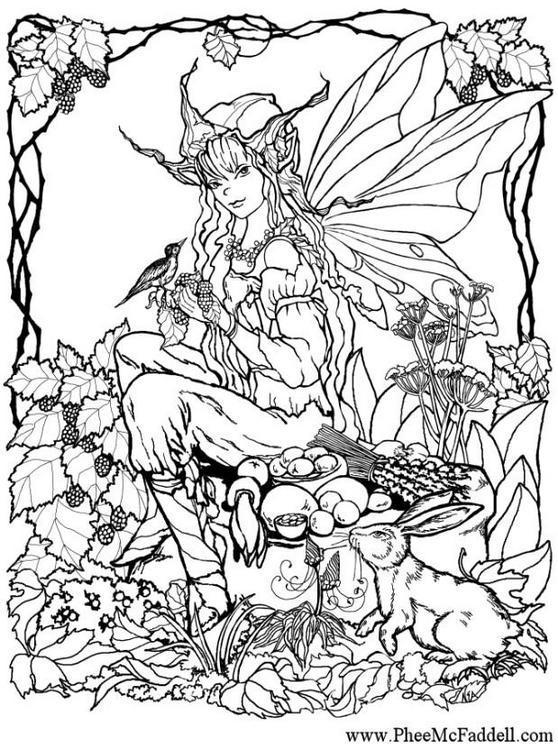 Dibujo Para Colorear Chica Elfo En El Bosque 01