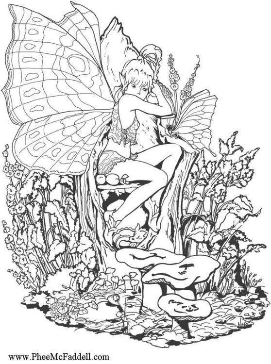 Dibujo para colorear Chica Elfo en el bosque