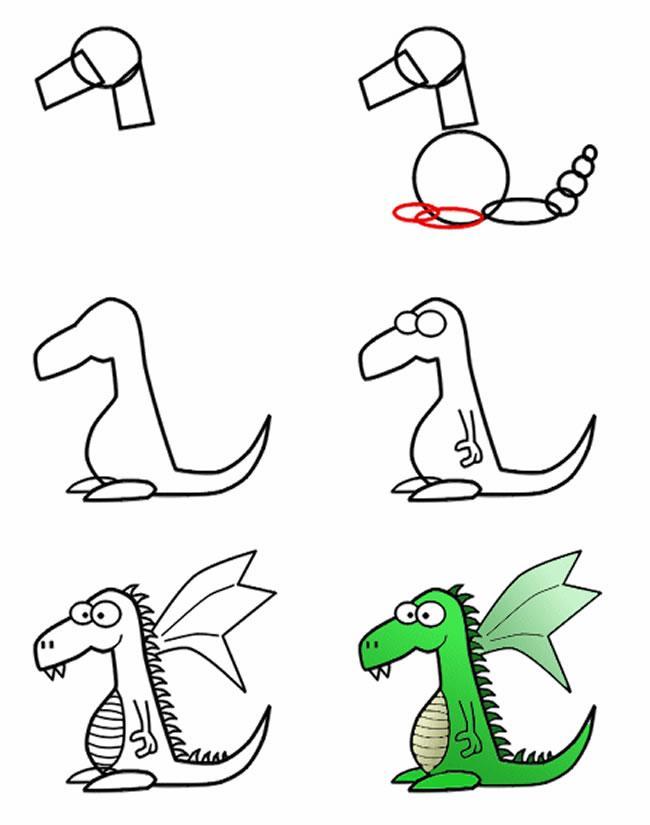 Dibujo para colorear Como dibujar Dragn comic