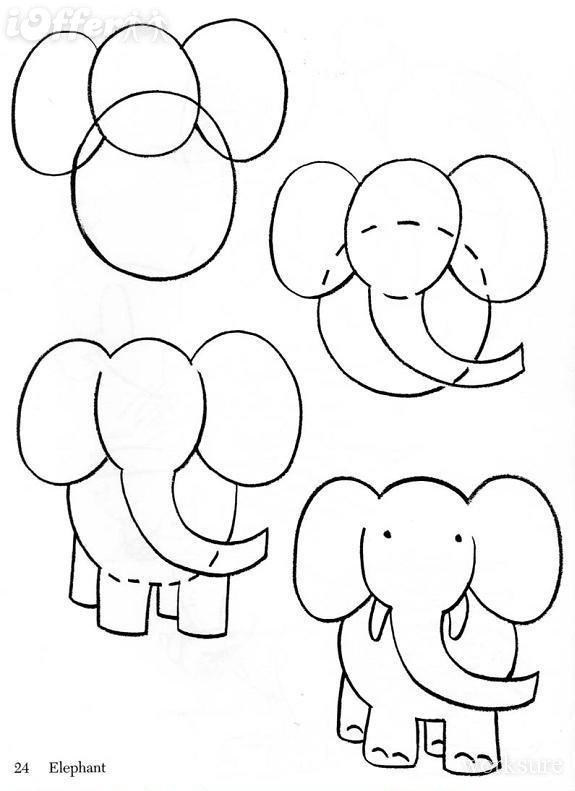 Dibujo para colorear Como dibujar un Elefante
