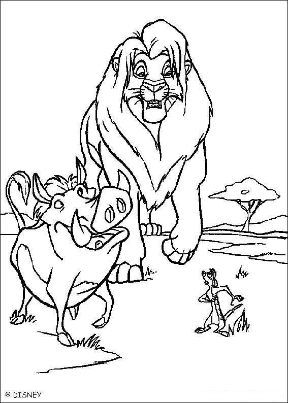 Dibujo para colorear El Rey Leon con Jabalino 01