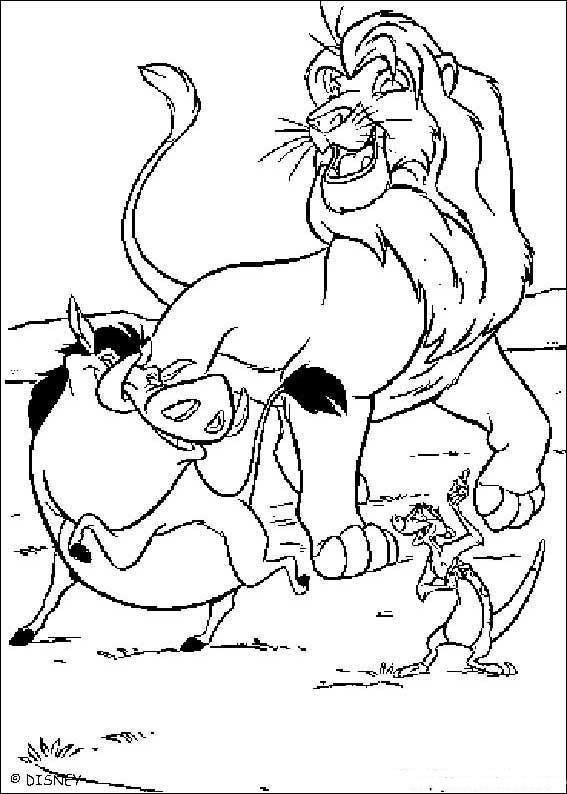 Dibujo para colorear El Rey Leon con Jabalino