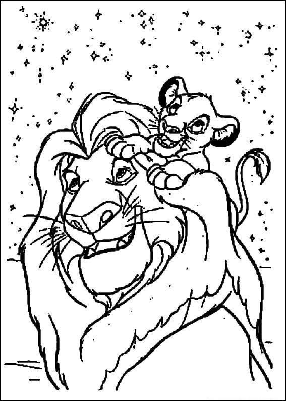 Dibujo para colorear El Rey Leon y su hijito
