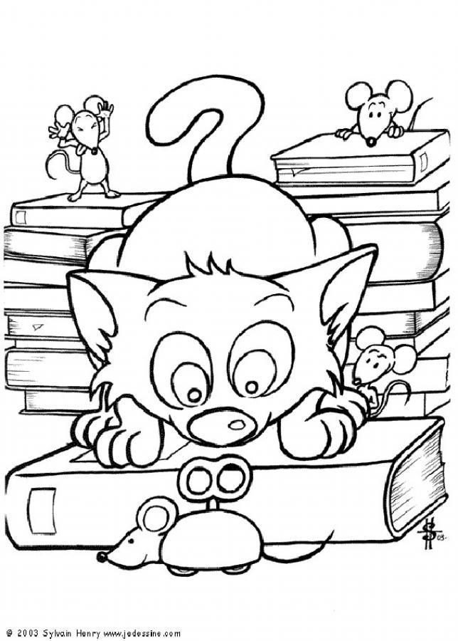 Dibujo para colorear El gato con un ratón mecánico