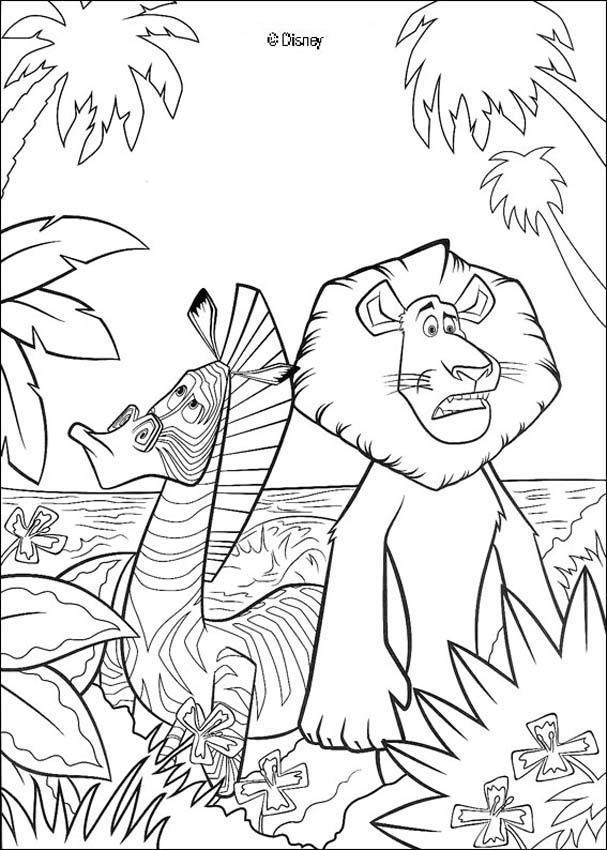 Dibujo Para Colorear El León Y La Cebra