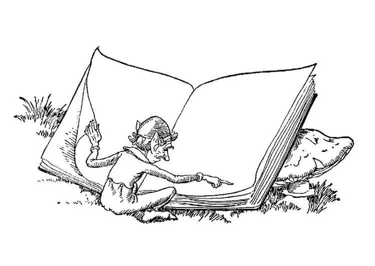 Dibujo para colorear Elfo con libro