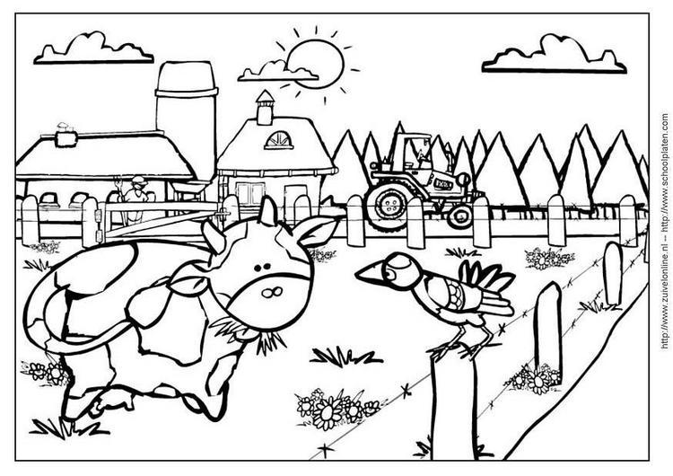 Dibujo Para Colorear En La Granja 01