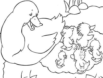 Dibujo Para Colorear Familia Patos