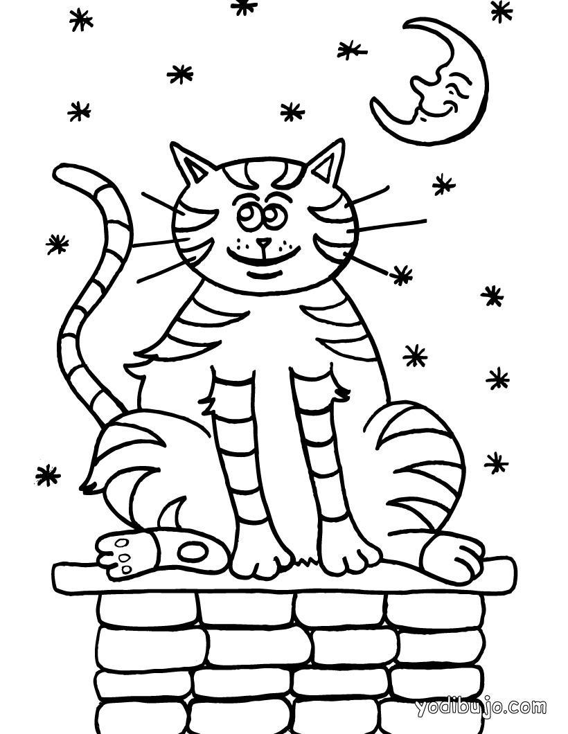 Dibujo para colorear Gato bajo la luna