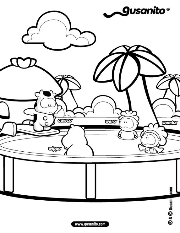 Dibujo para colorear gusanito cowco y amigos en la piscina for Piscina koala cumpleanos