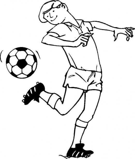 Dibujo Para Colorear Jugando Al Futbol 02