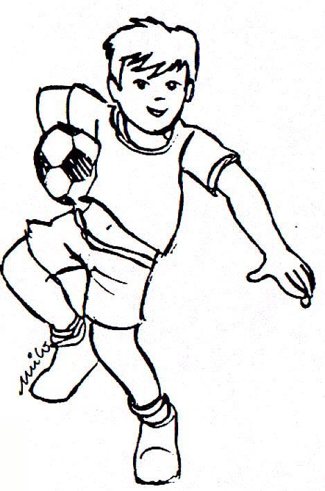Dibujo para colorear Jugando al Futbol 09