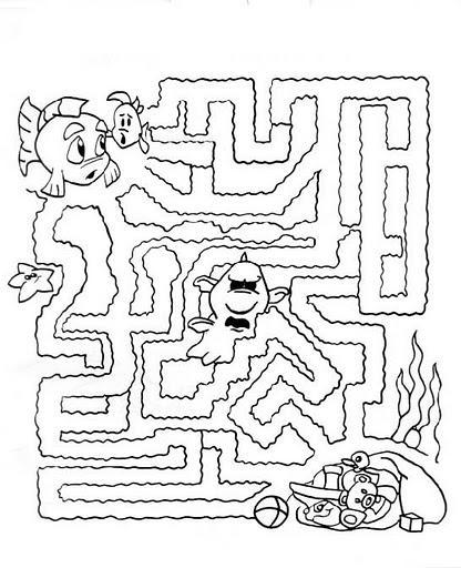 Dibujo para colorear Laberinto, Nemo y el tesoro