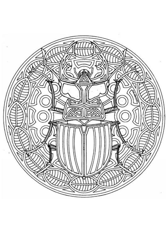 Dibujo para colorear Mandalas 84 Escarabajo