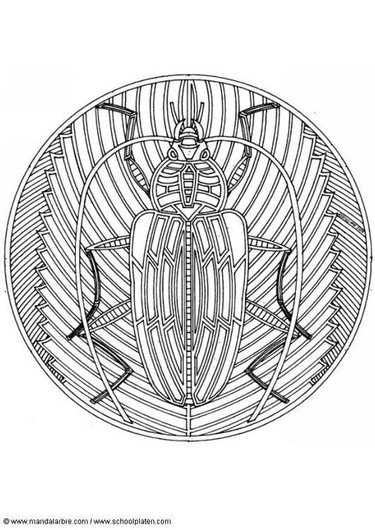 Dibujo para colorear Mandalas 85 Escarabajo