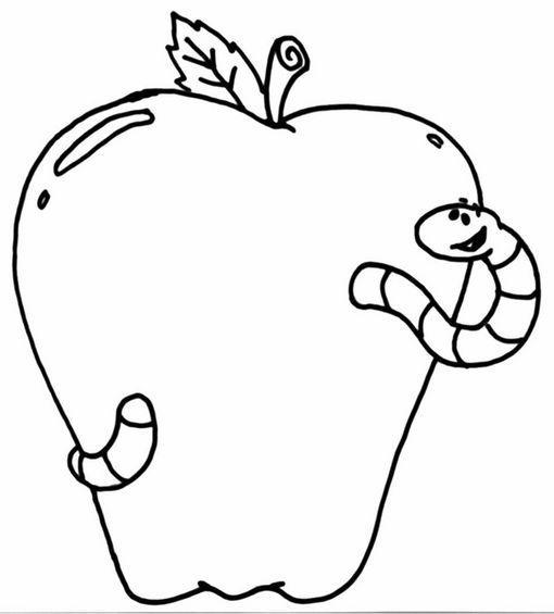 Dibujo para colorear Manzana con un gusano