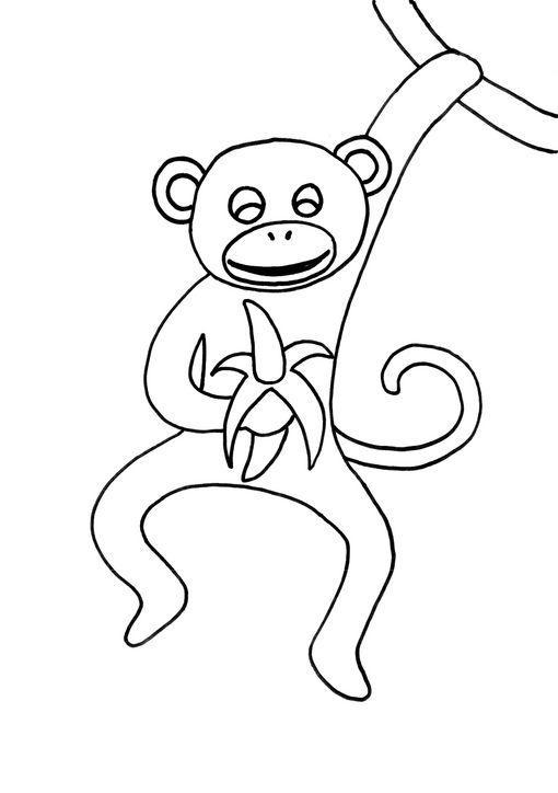 Dibujo para colorear Mono comiendo un plátano