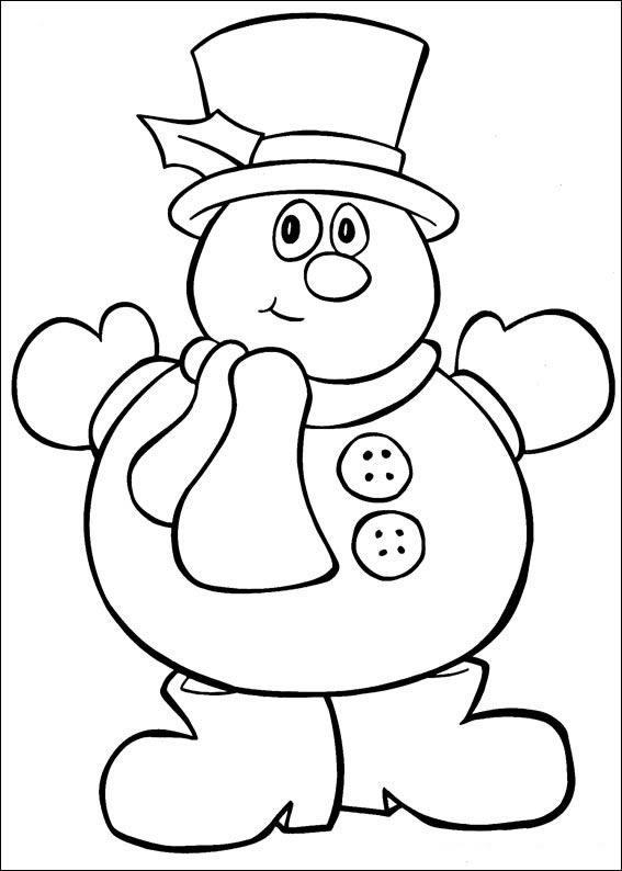 Dibujo para colorear Muñeco de Nieve por Navidad
