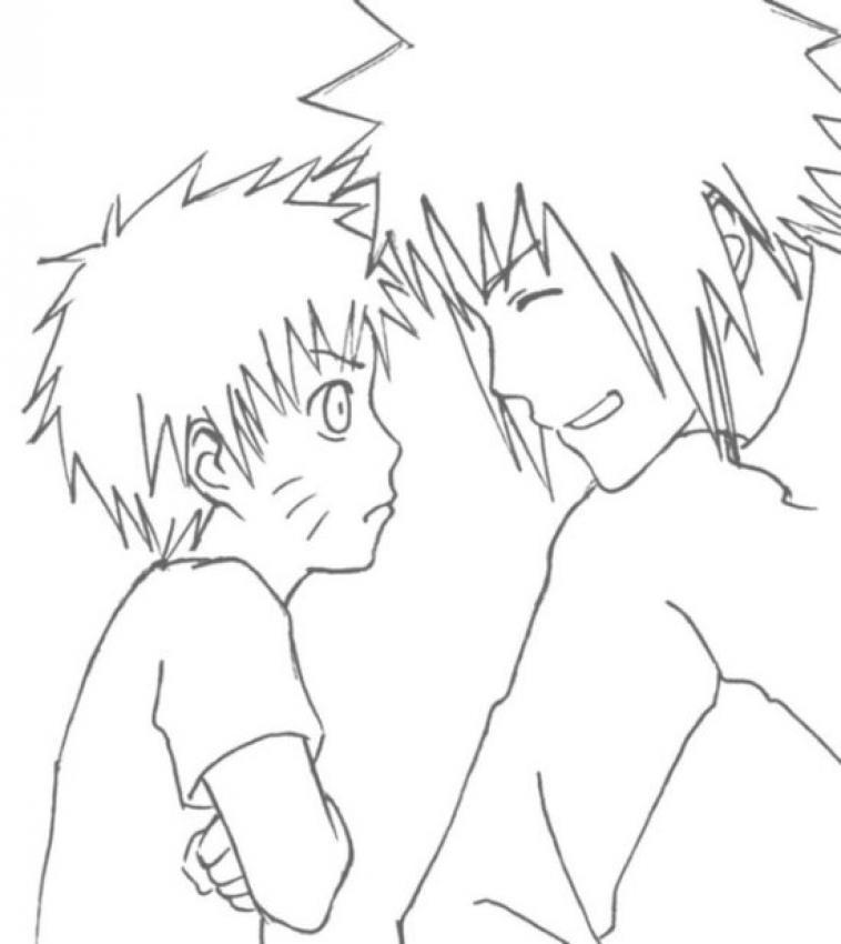 Dibujo para colorear Naruto y amigo