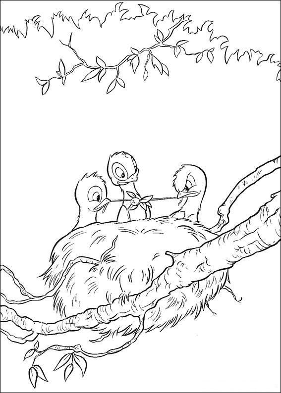 Dibujo para colorear Nido con pajaritos