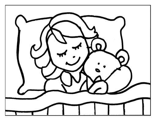 Dibujo Para Colorear Niña Durmiendo