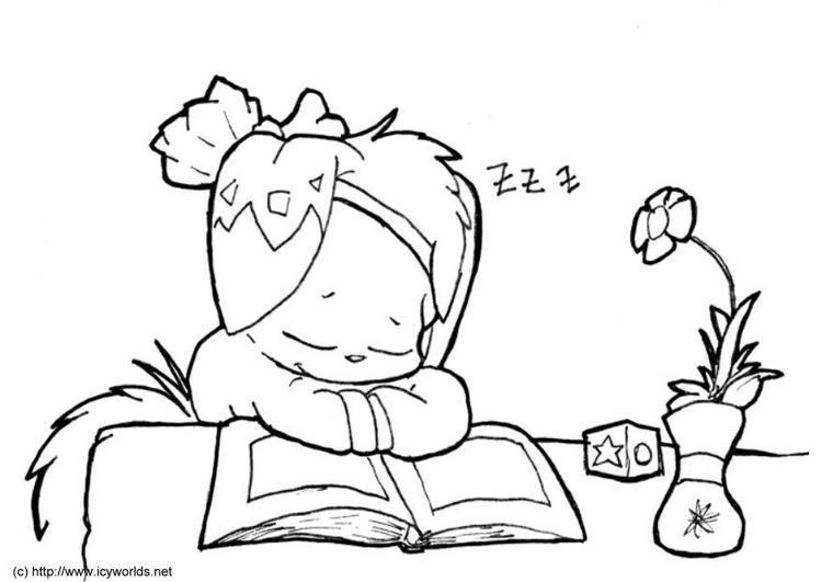 Dibujo Para Colorear Niño Estudiando