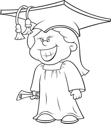 Dibujo Para Colorear Niño Sonriendo En La Graduación