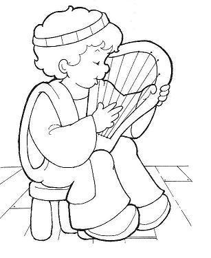 Dibujo para colorear Nio tocando el Arpa