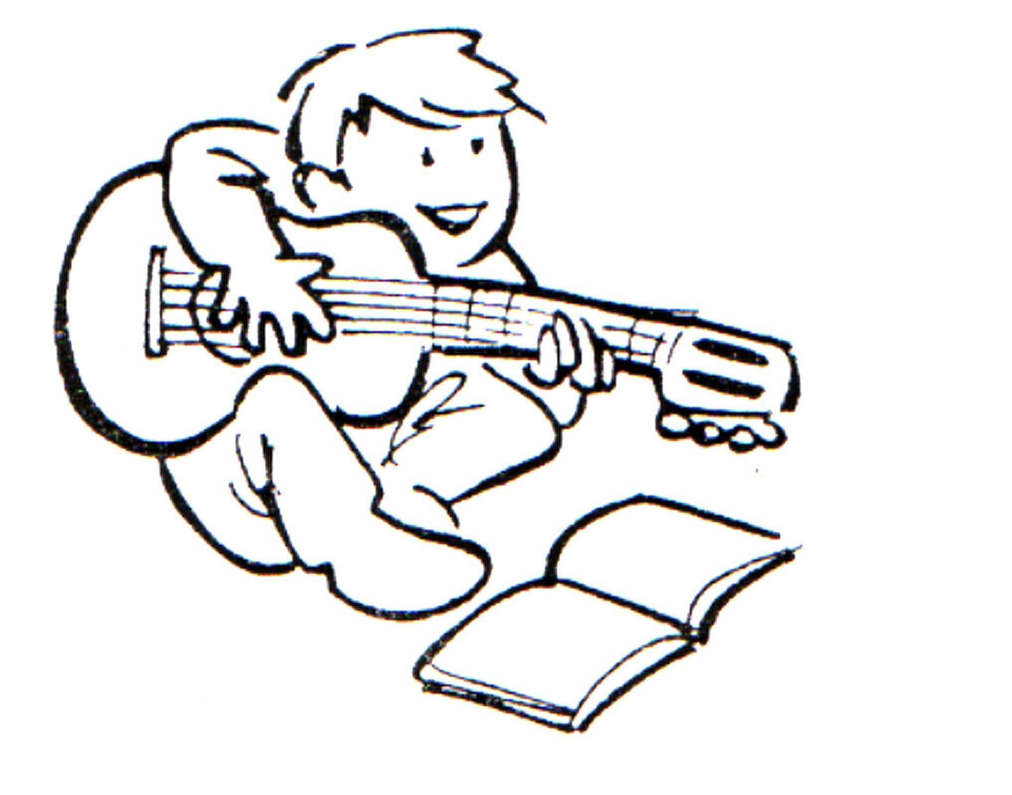 Dibujo para colorear Nio tocando la guitarra 01