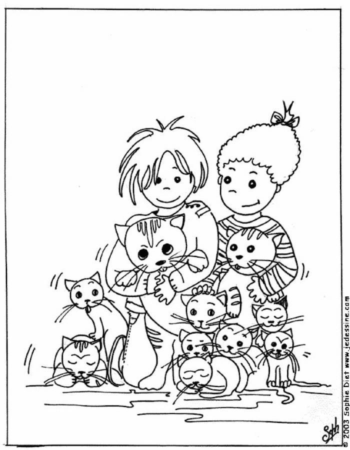 Dibujo para colorear Niños entre gatitos