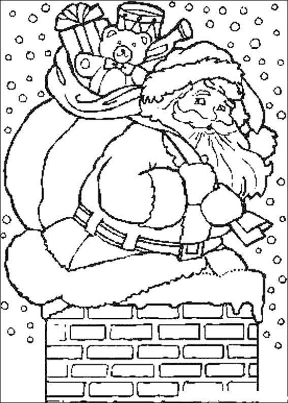 Dibujo Para Colorear Papa Noel Entrando Por La Chimenea
