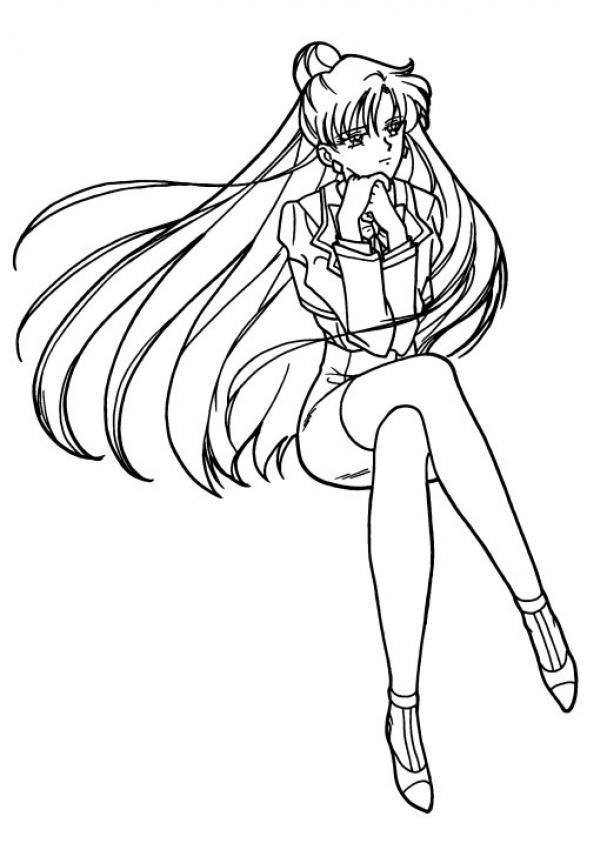 Dibujo para colorear Sailor Moon en sus pensamientos