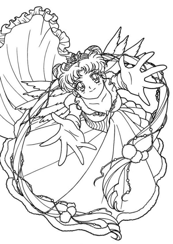 Dibujo para colorear Sailor Moon te da un abrazo