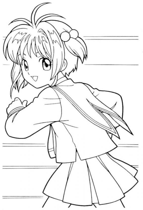 Dibujo Para Colorear Sakura Corriendo