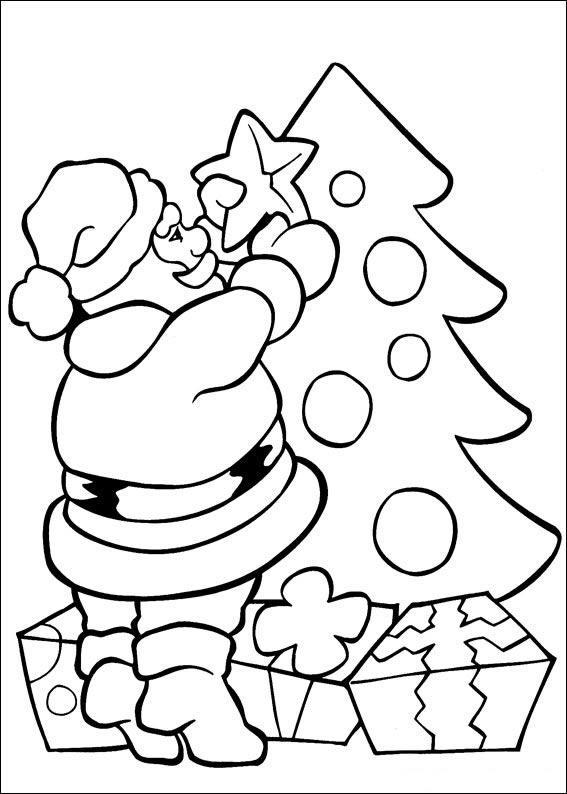 Dibujo Para Colorear Santa Claus Poniendo Estrella En Arbol
