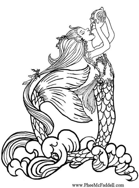 Dibujo para colorear Sirena 01