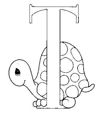 Dibujo para colorear Tortuguita letra T