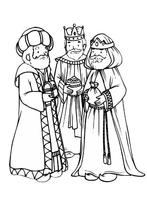 Dibujo Para Colorear Tres Reyes Magos Reunidos