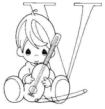 Dibujo Para Colorear Violin Letra V